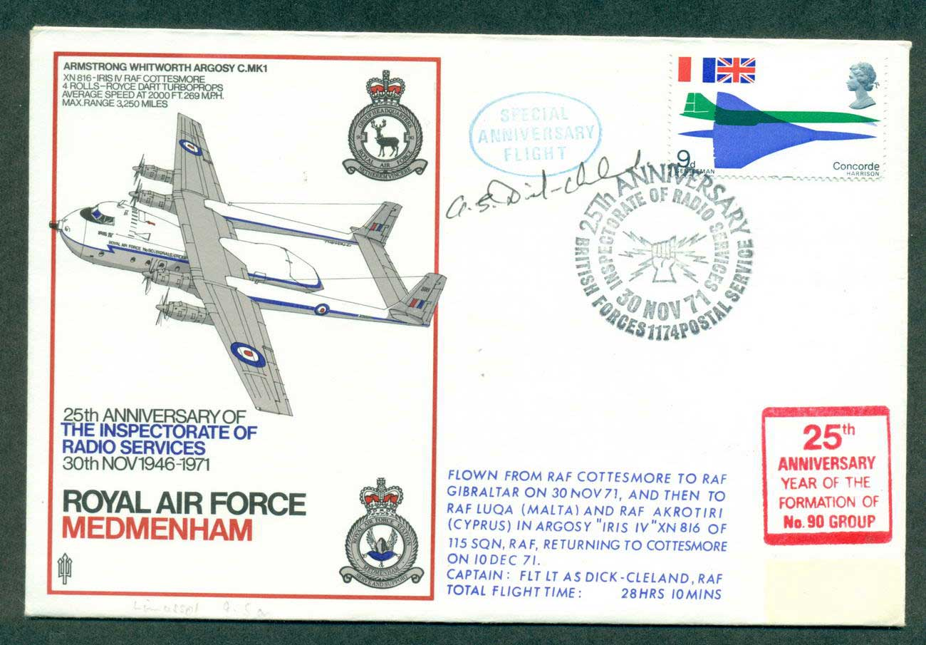 GB 1971 25th Anniv RAF Inspectorate of Radio Services Pilot Signed lot42687