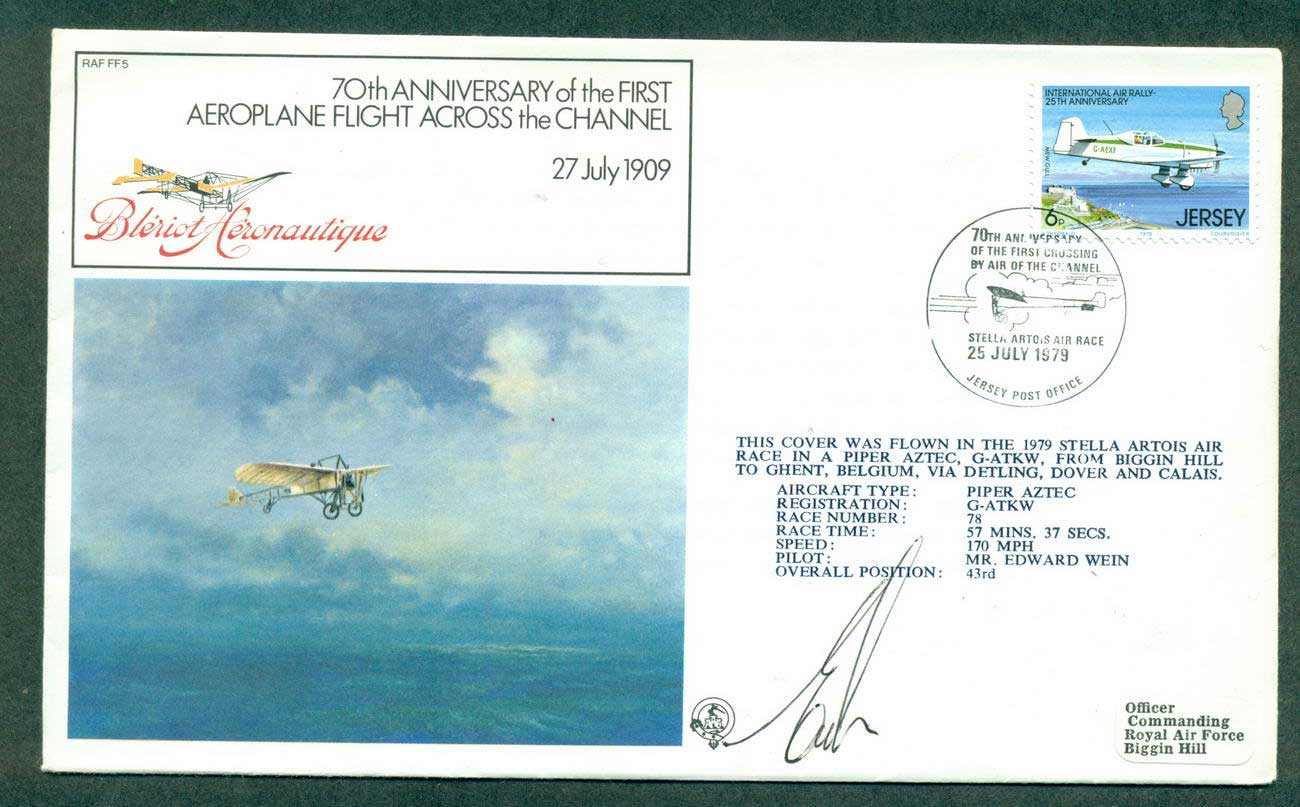 Jersey 1979 70th Anniv Channel Flight Crewe Signed lot42698