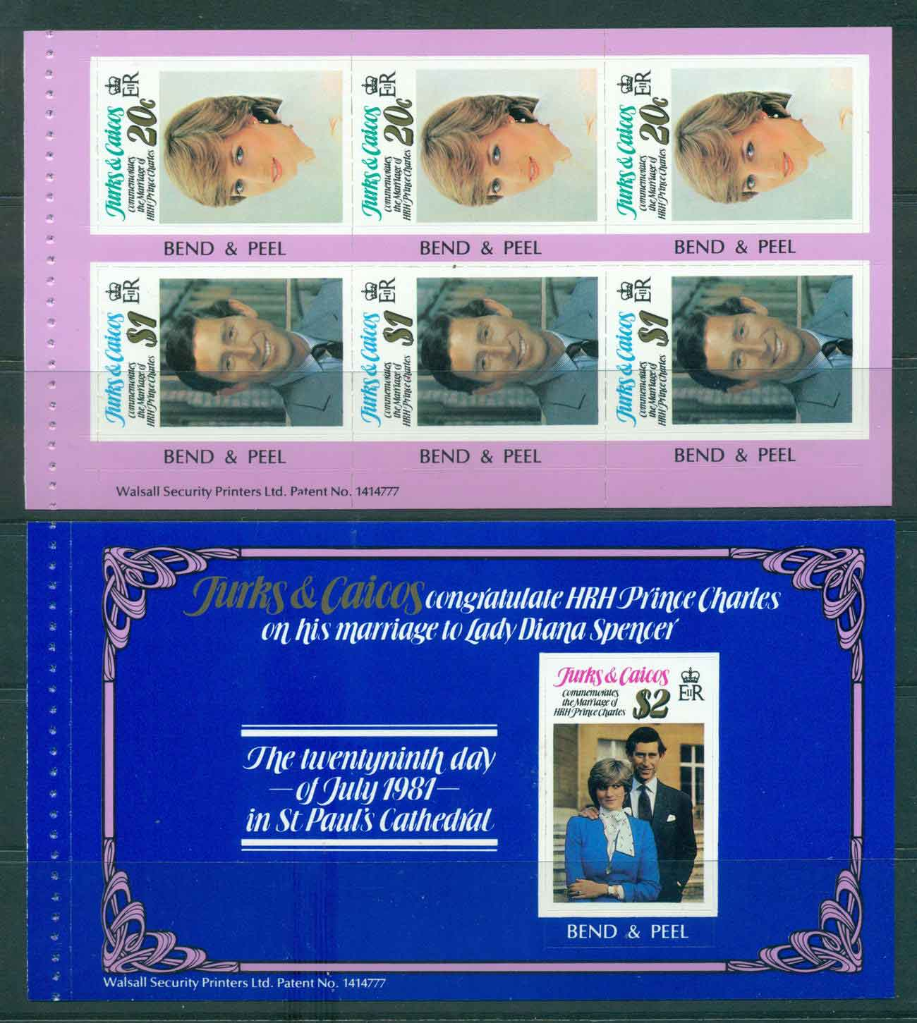 Turks & Caicos Is 1981 Charles & Diana Wedding 2x P&S Booklet panes MUH Lot45301