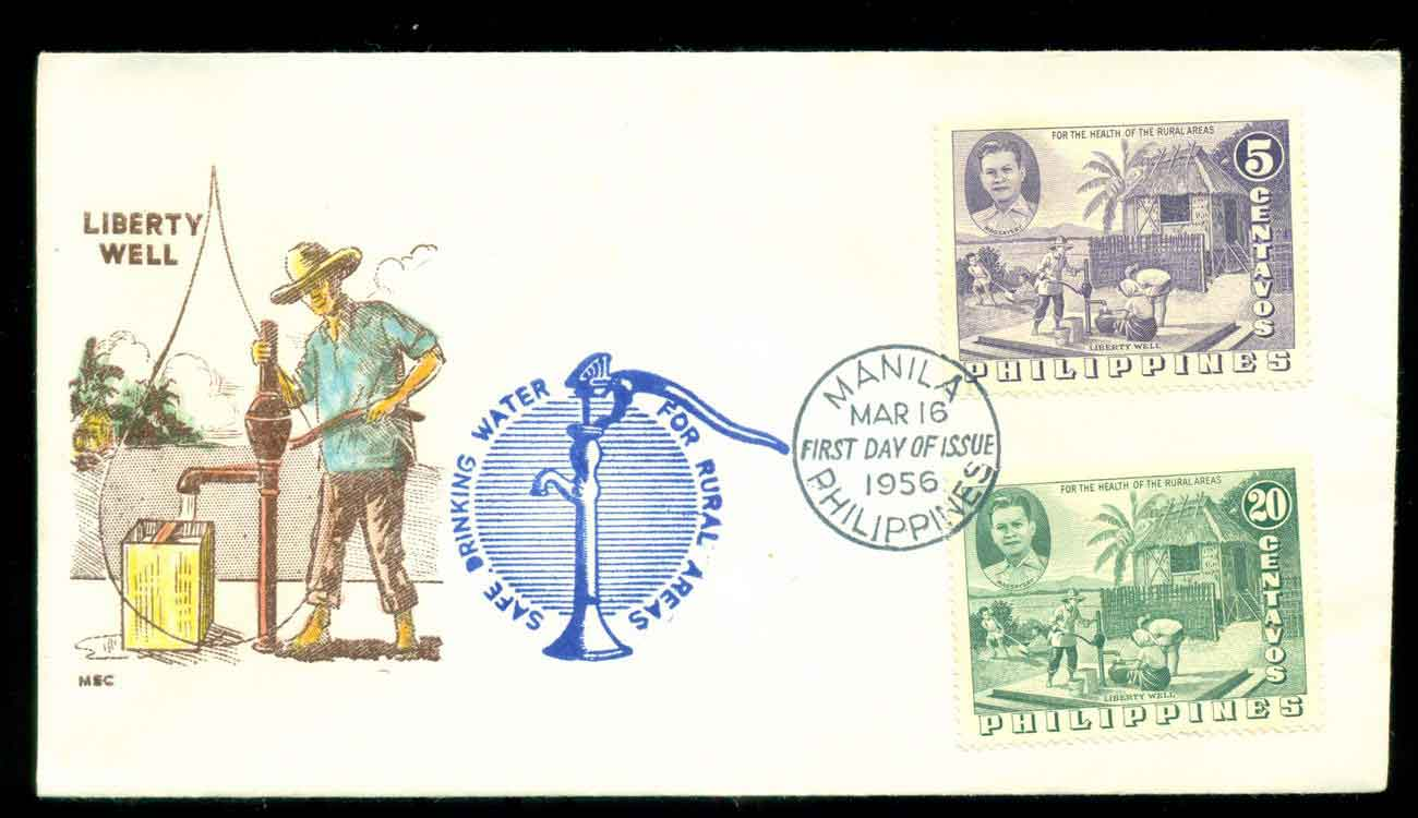 Philippines 1956 Liberty Well FDC lot51620