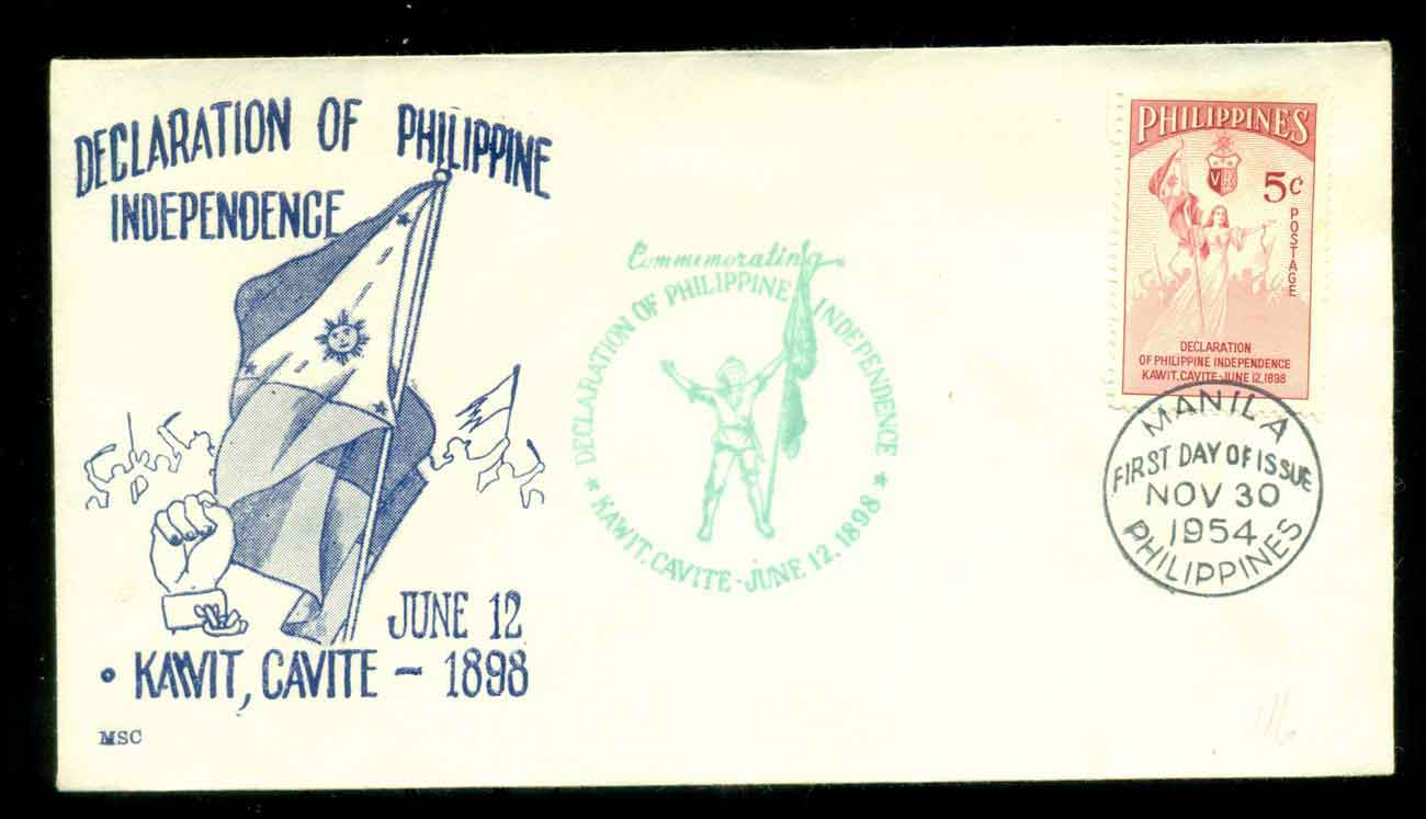 Philippines 1954 Independence Anniv. FDC lot51622