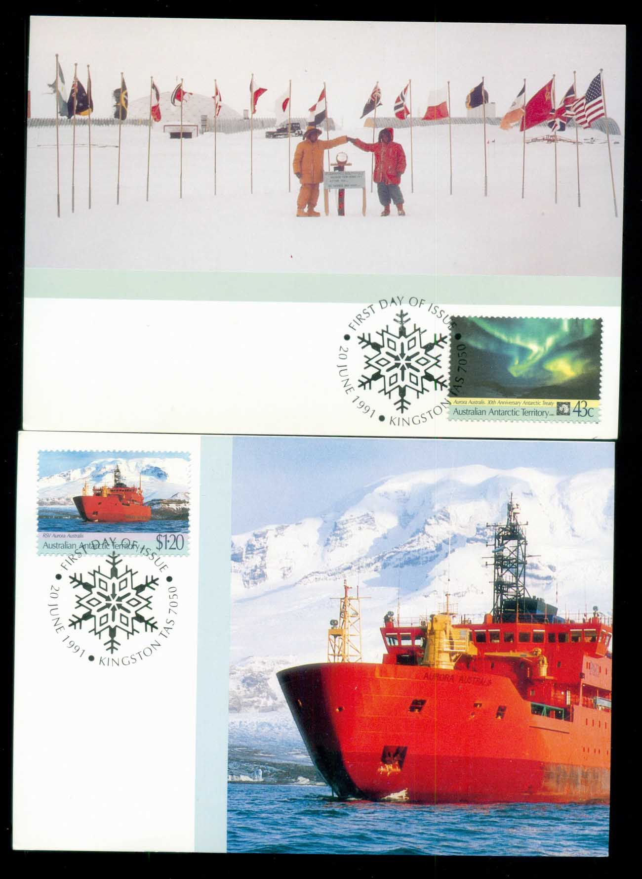 AAT 1991 Antarctic Treaty 2x Maxicard lot80511