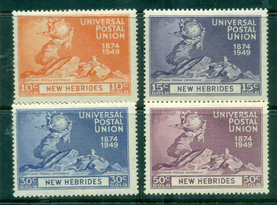 New Hebrides (Br) 1949 UPU 75th Anniv. MLH