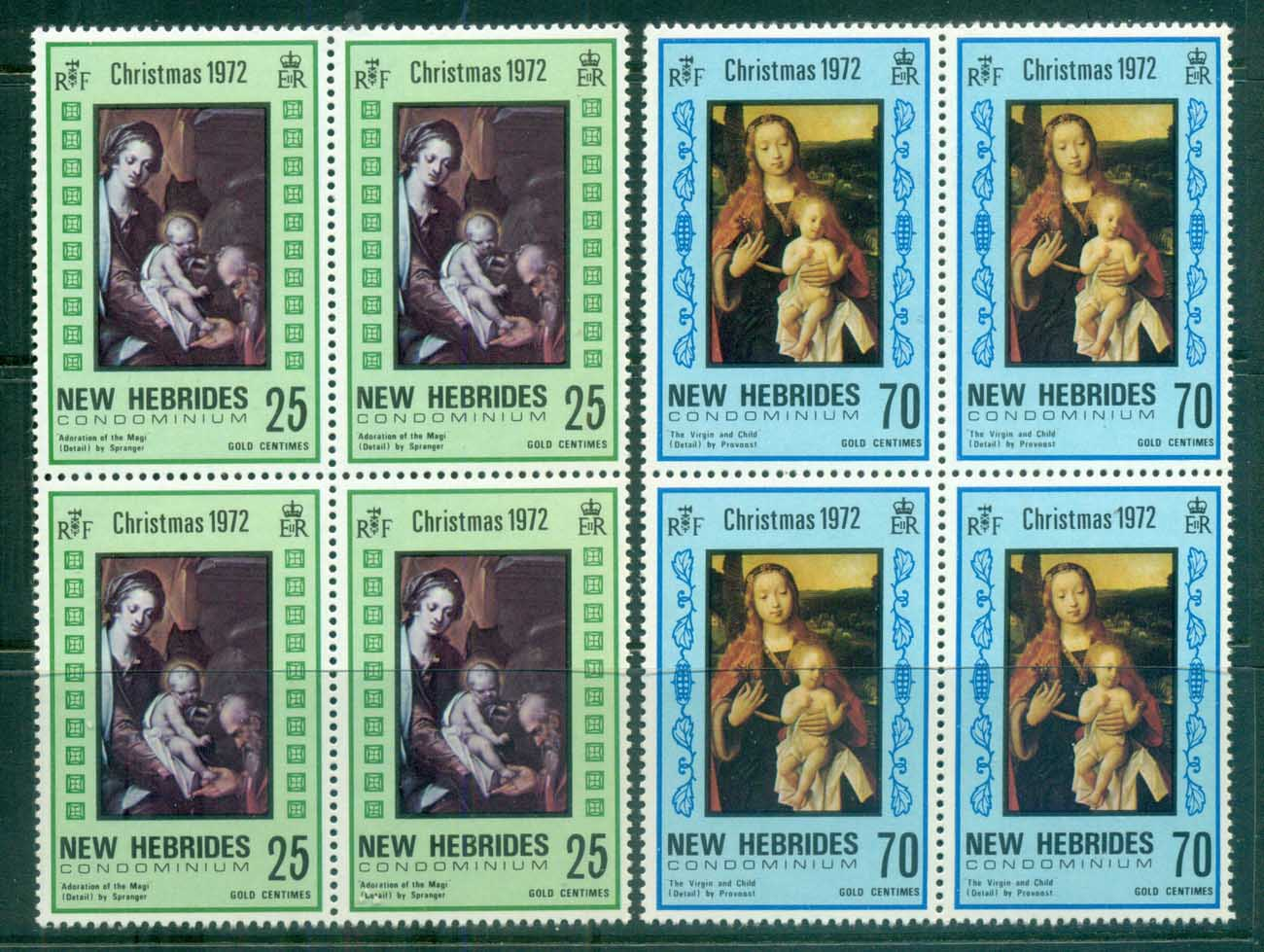 New Hebrides (Br) 1972 Xmas Nativity Blk4 MUH