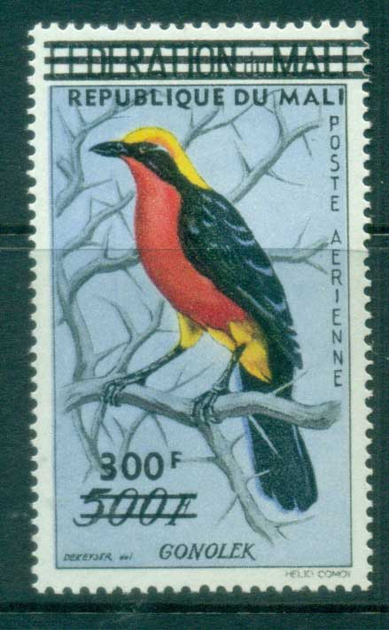 Mali 1960 Birds, Barbary Shrike 500f Opt MLH