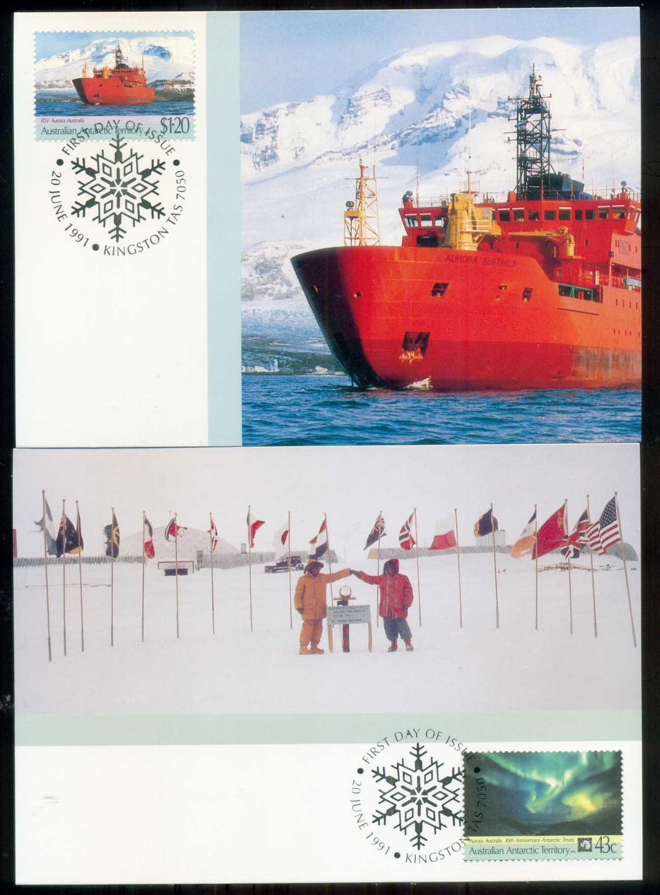 AAT 1991 Antarctic Treaty 2xMaxicards