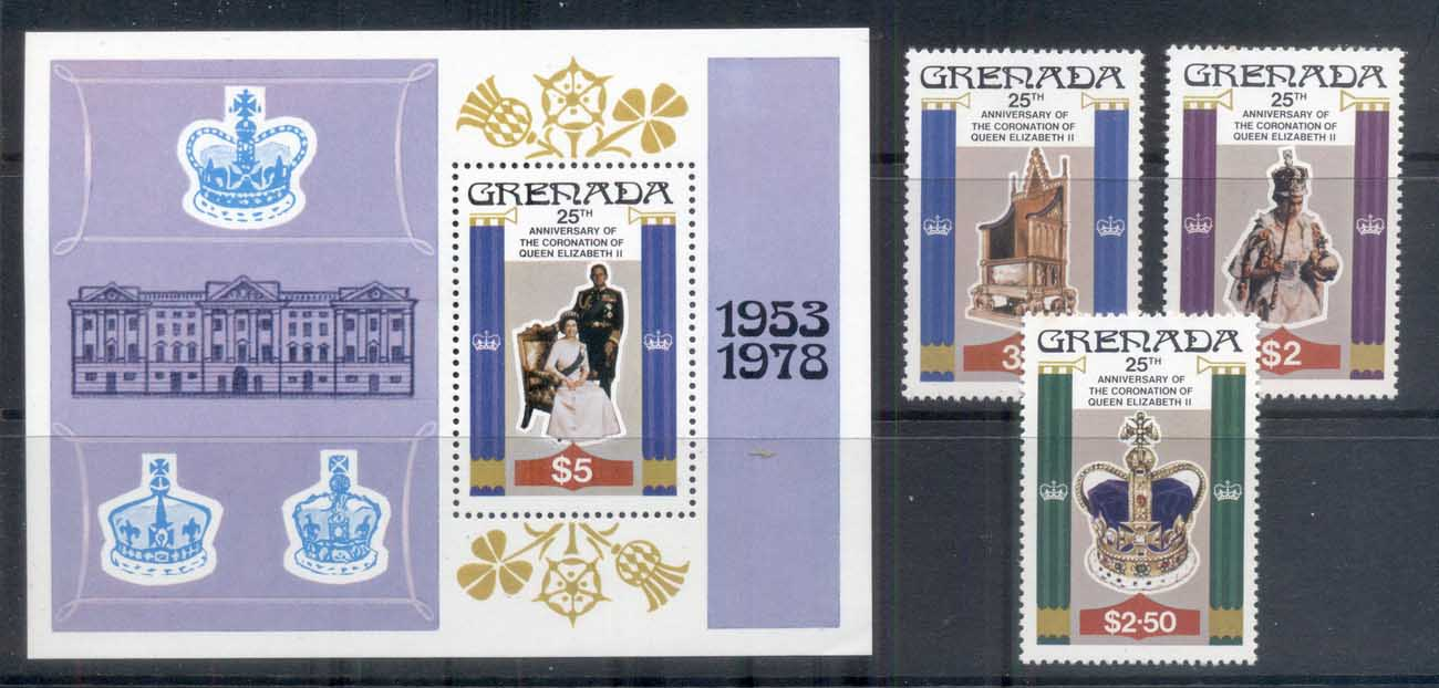 Grenada 1978 QEII Coronation 25th Anniversary +MS MUH