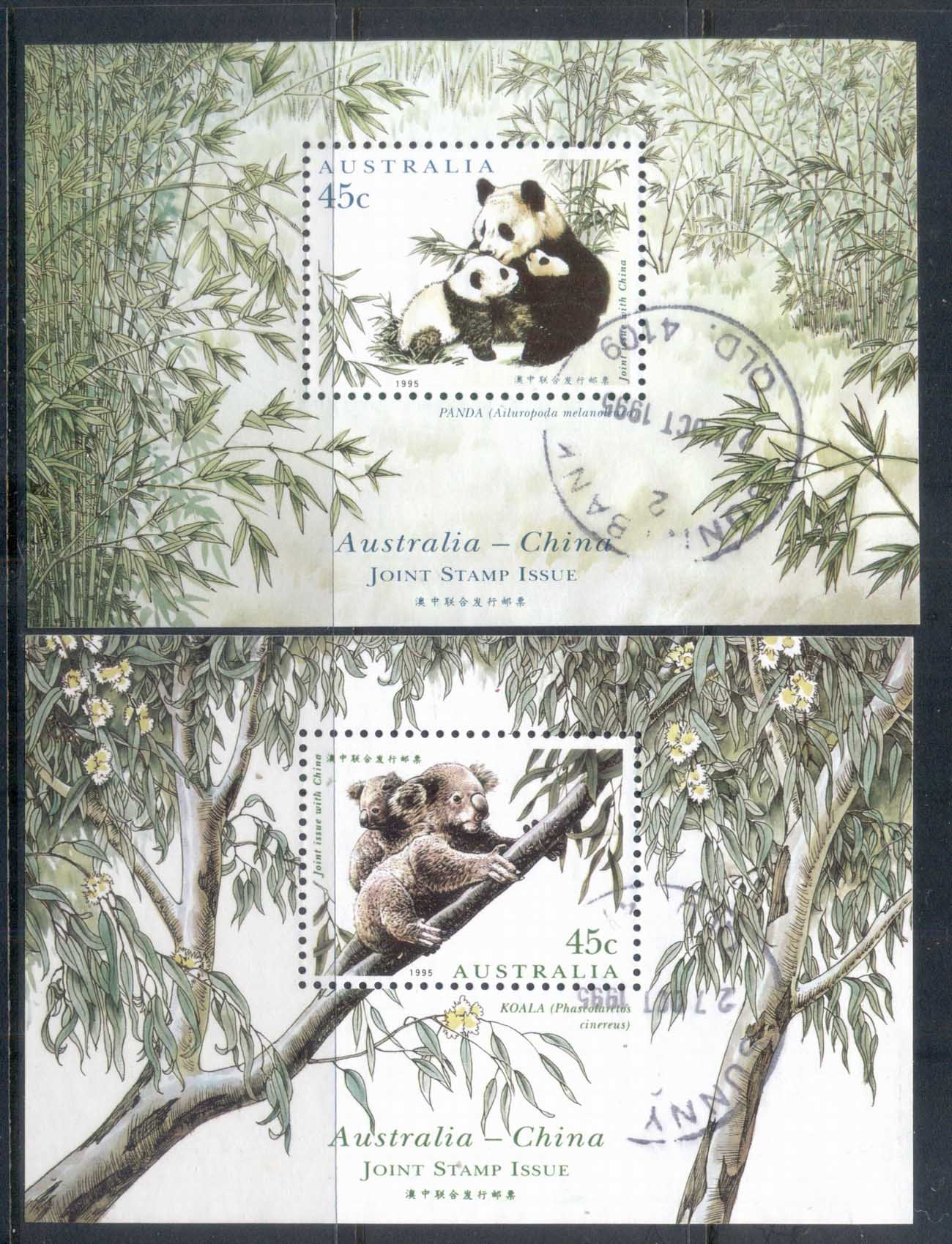 Australia 1995 Australia & China Joint Issue, Koala, Panda 2xMS FU