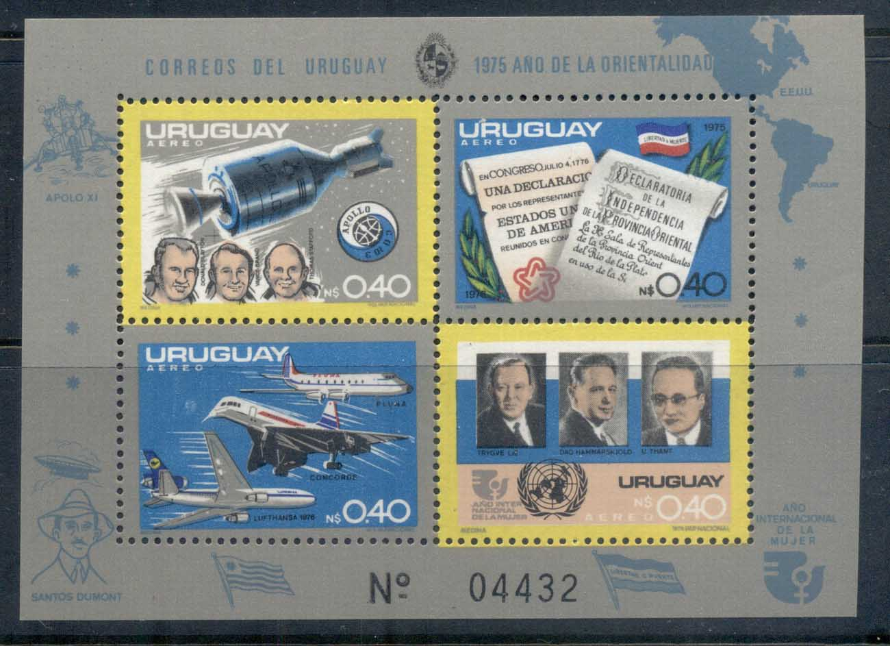 Uruguay 1975 Apollo-Soyuz Joint Russia/USA Space Project MS II MUH