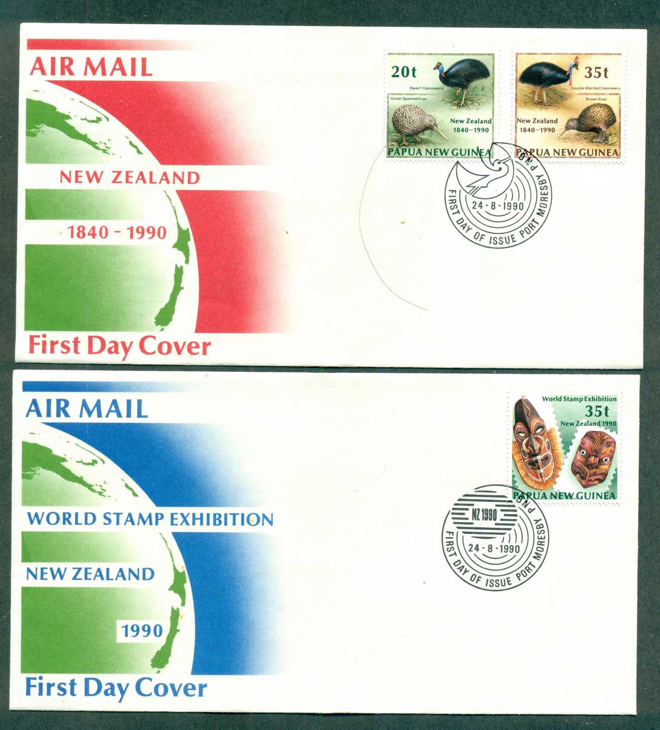 PNG 1990 New Zealand 90 2xFDC lot70764