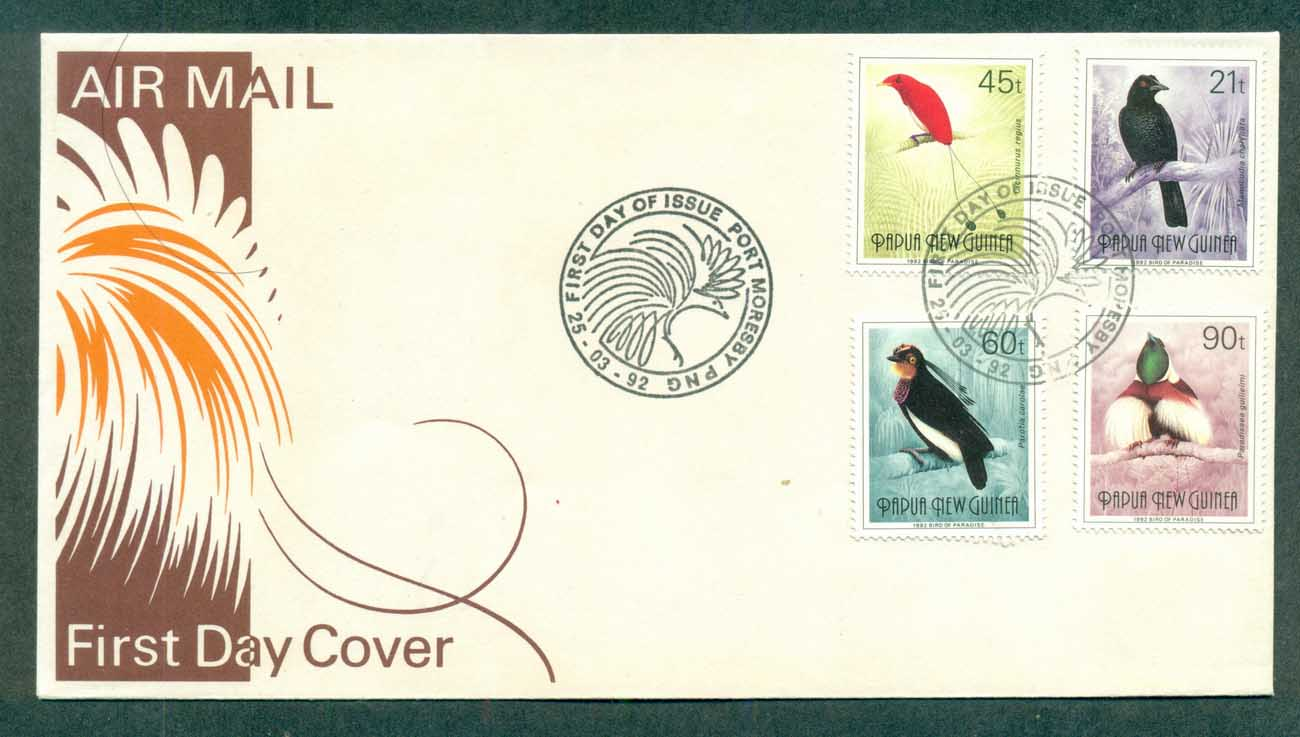 PNG 1992 Birds of Paradise II, 21,45,60,90t FDC lot70767