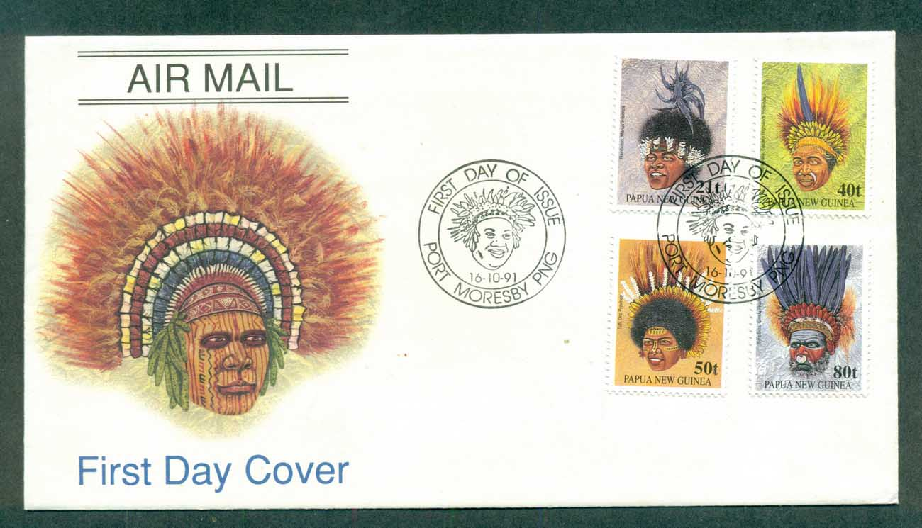 PNG 1991 Headdresses FDC lot70771