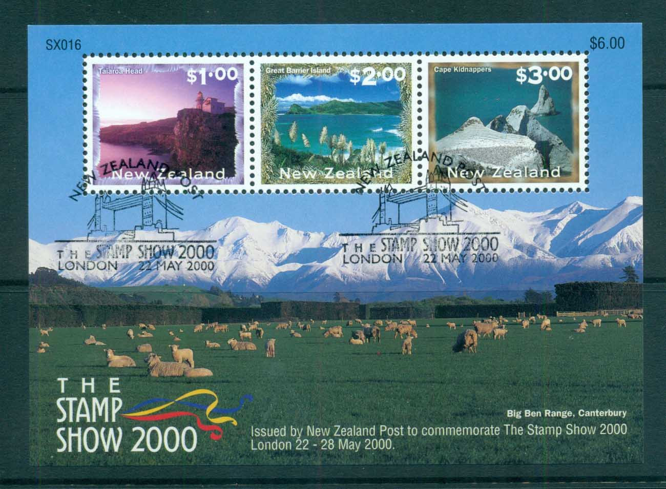 New Zealand 2000 Scenic Views, The Stamp Show, London MS Show CTO lot72377