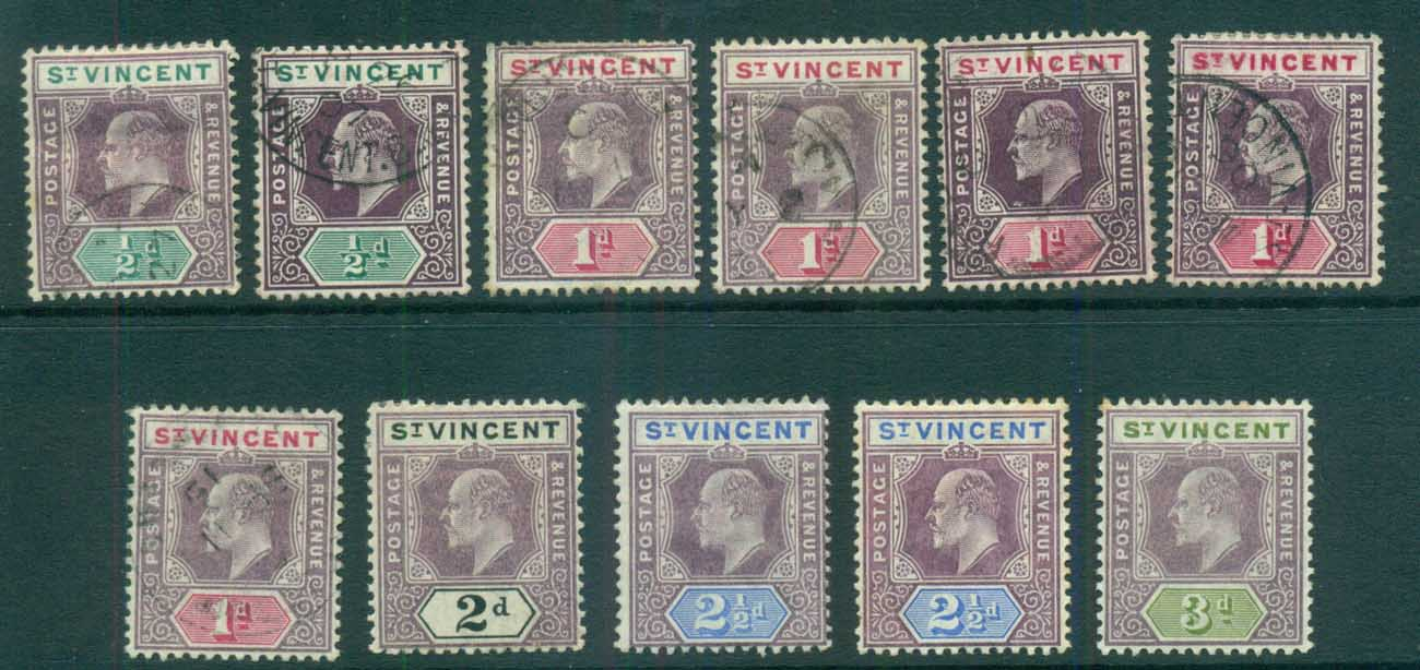St Vincent 1902-11 KEVII Assorted MH/FU lot72859