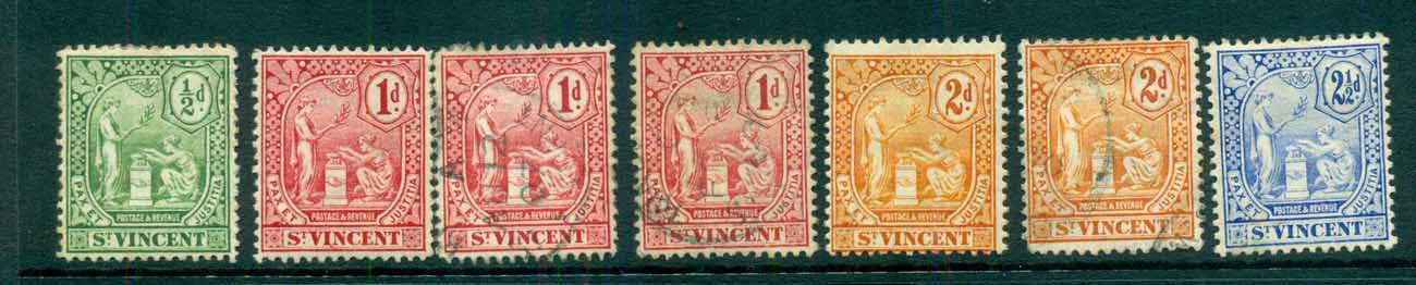 St Vincent 1907 Peace & Justice Assorted (faults) MH/FU lot72860