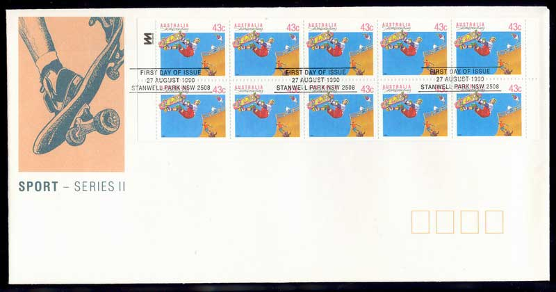 Australia 1990 Sports Booklet Pane FDC Lot12358