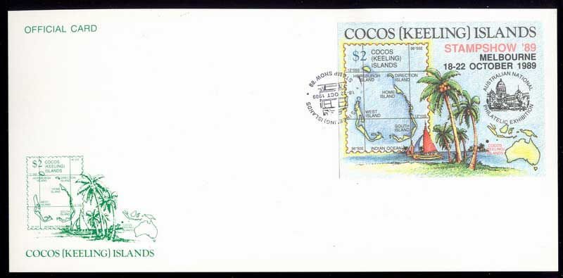 Cocos Keeling Is 1989 Melb. Stampshow Official Card Lot13863