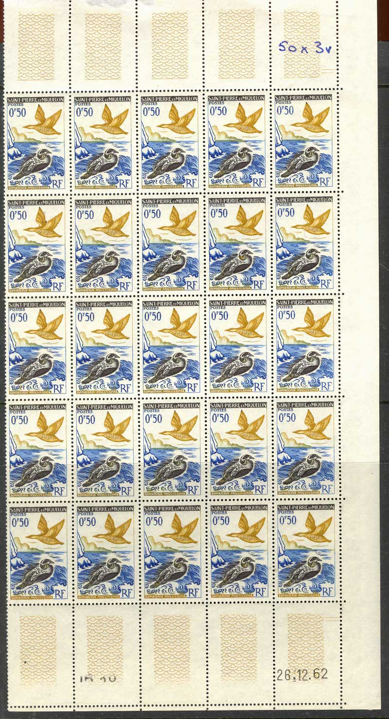 St Pierre & Miquelon 1963 0.50f Bird Pane 25 MUH Lot14938