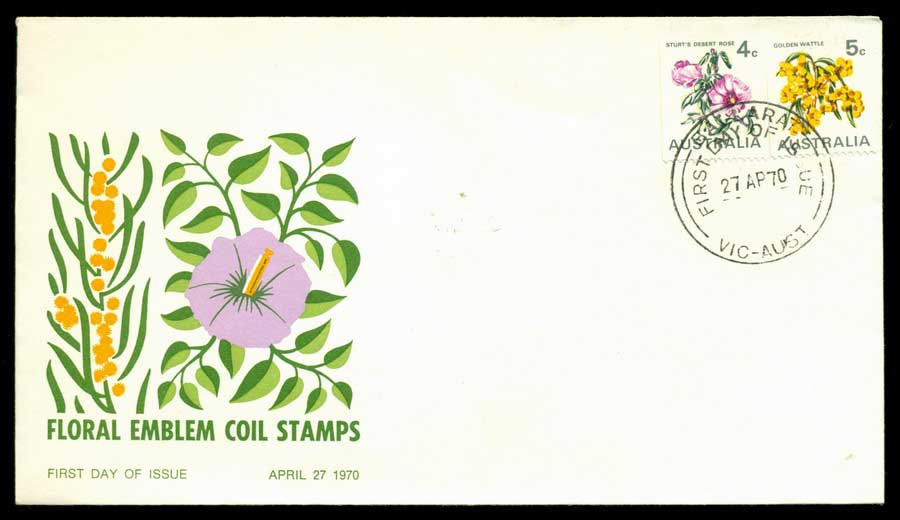 Australia 1970 Floral Coil Unaddressed FDC Lot19937