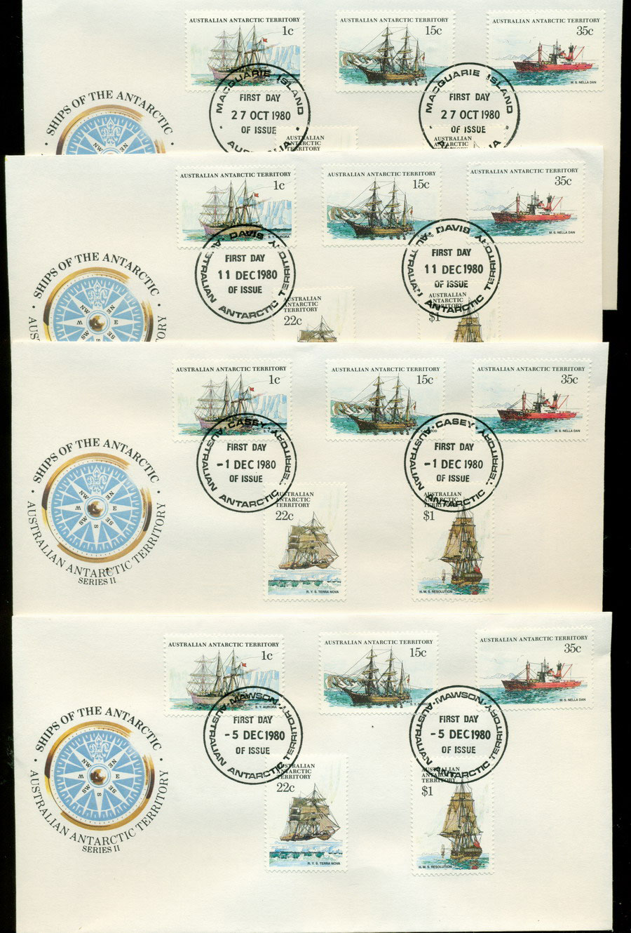 AAT 1980 Ships II, Base Set 4x FDC Lot20211