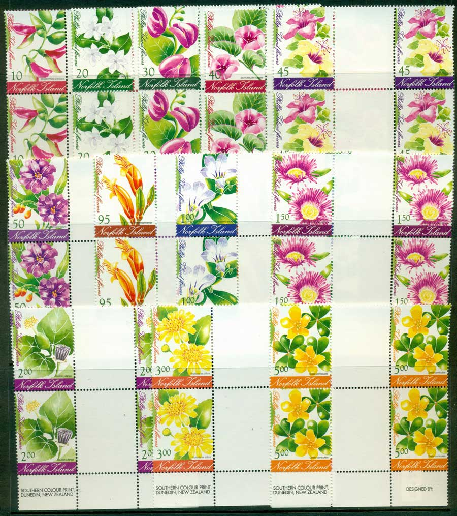 Norfolk Is 2002 Phillip Is Flowers Gutter Blocks MUH (lot21714) - Click Image to Close