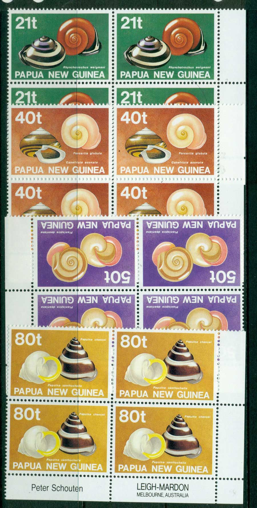 PNG 1991 Snails Block 4 MUH (lot22058)