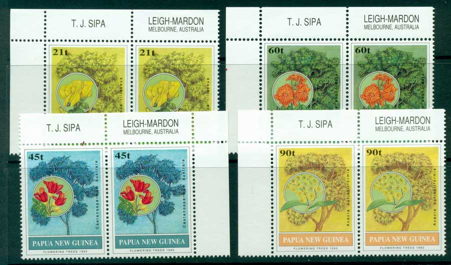 PNG 1992 Flowering Trees Pairs MUH (lot22067)