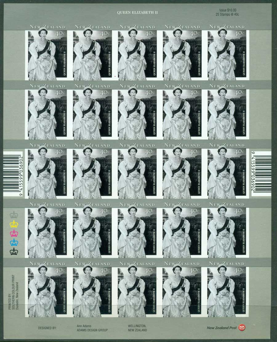 New Zealand 2001QEII 75th Birthday IMPERF Monochrome Sheet MUH Lot23447