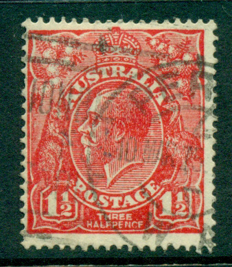 Australia KGV Head 1½d Red HALFPENCF Single Wmk FU lot24965