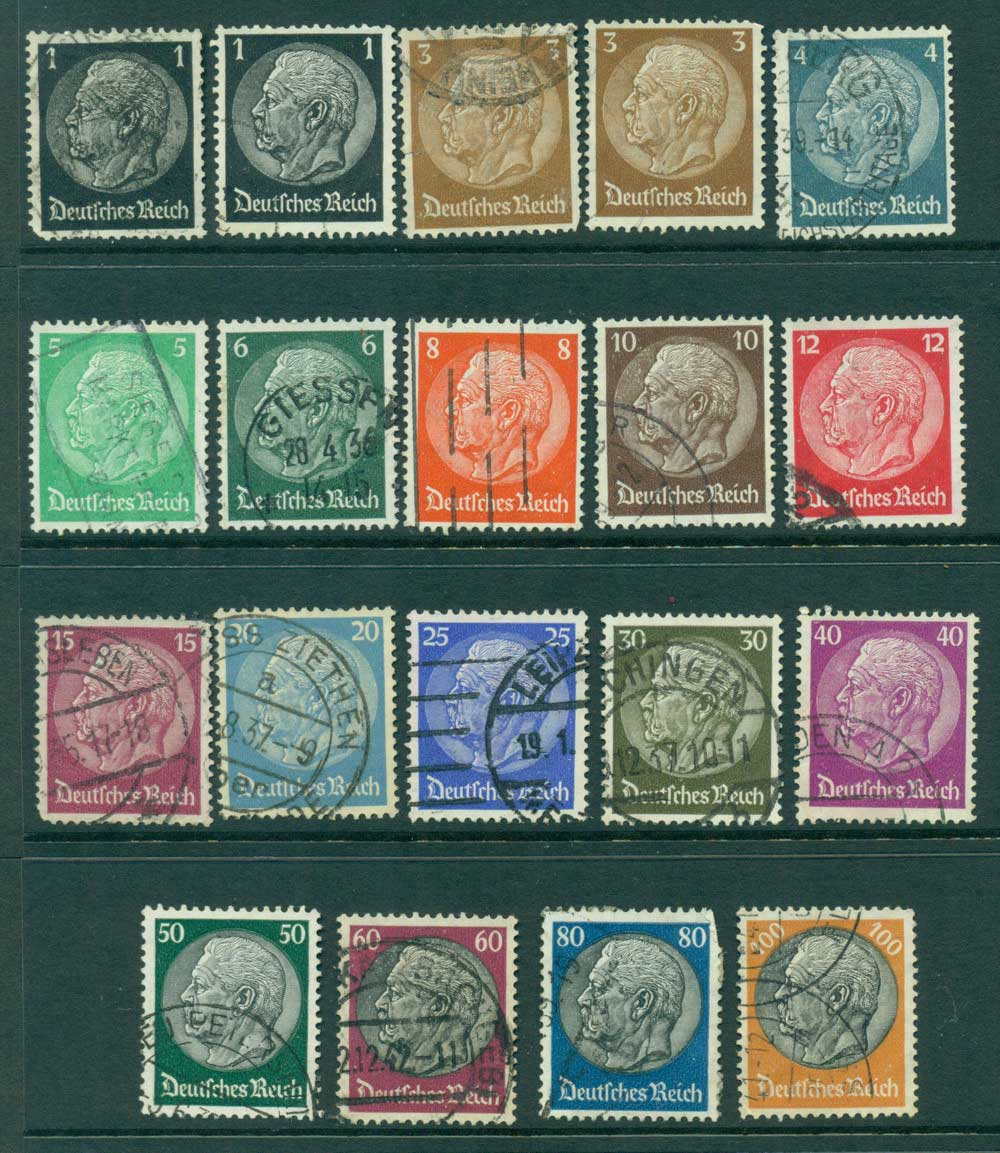 Germany Reich 1933-36 Hindenburg Asst (19) Lot26581