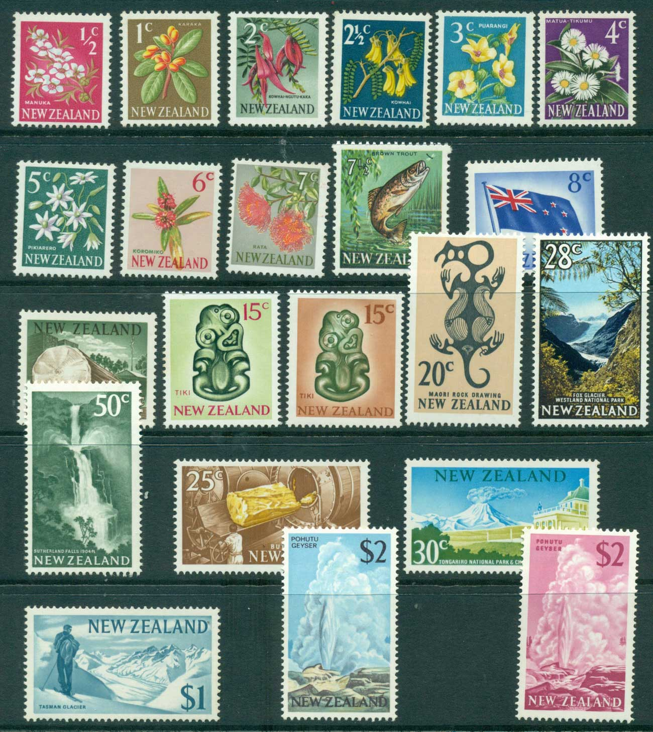 New Zealand 1967-70 Decimal Pictorials most MUH (22) Lot28565