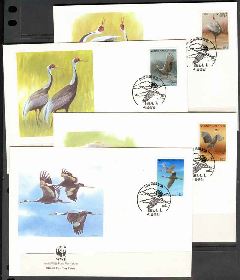 Korea South 1988 WWF White Naped Crane FDCs Lot8949