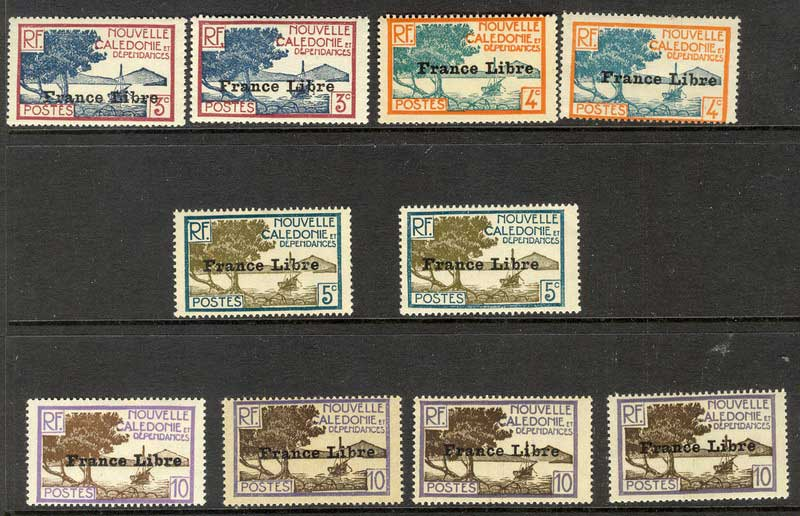 New Caledonia 1941 France Libre Opts Asst. MH Lot9786